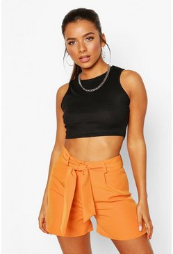 Orange Petite Tailored Belted Shorts
