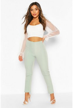 Sage Petite Tailored Leg Split Detail Trousers
