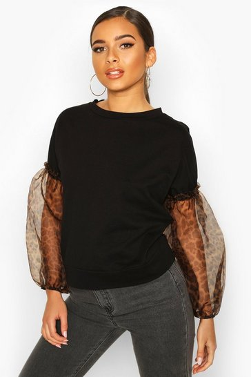 Black Petite Leopard Print Organza Sleeve Sweat