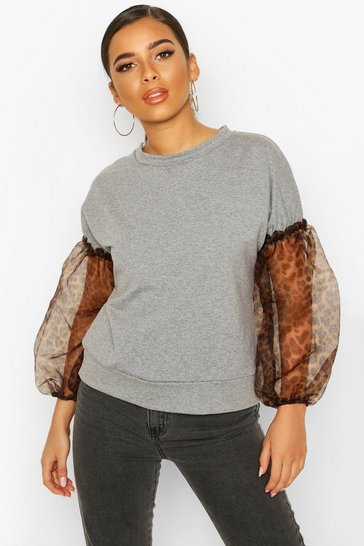 Grey Petite Leopard Print Organza Sleeve Sweat