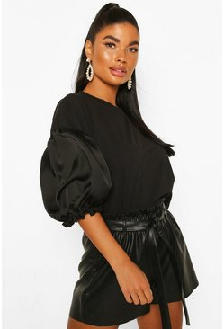 Petite Satin Puff Ball Sleeve T-Shirt, Black