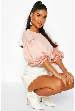 Blush Petite Satin Puff Ball Sleeve T-Shirt