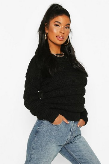 Black Petite Bubble Knit Jumper