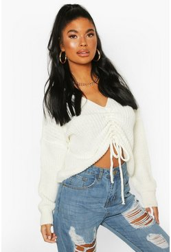 Ivory Petite Ruched Front Jumper