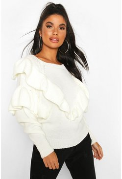Ivory Petite Ruffle Detail Jumper