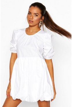 White Petite Volume Sleeve Cotton Poplin Puff Ball Dress