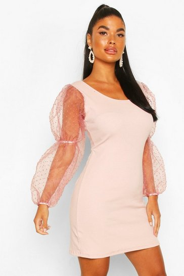 Pink Petite Spot Mesh Volume Sleeve Knitted Dress