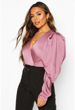 Lilac Petite Volume Sleeve Satin Bodysuit
