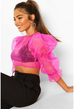 Pink Petite Volume Sleeve Organza Top