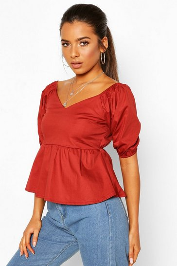 Rust Petite Cotton Poplin Volume Sleeve Blouse