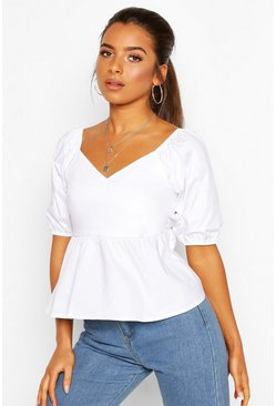 White Petite Cotton Poplin Volume Sleeve Blouse