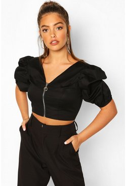 Petite Corset Detail Cotton Poplin Top, Black