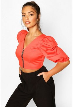 Petite Corset Detail Cotton Poplin Top, Orange