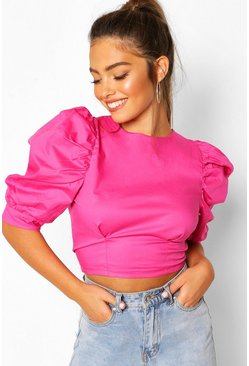Pink Petite Cotton Poplin Puff Ball Sleeve Top