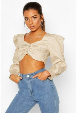 Ecru Petite Poplin Volume Sleeve Button Front Crop Top