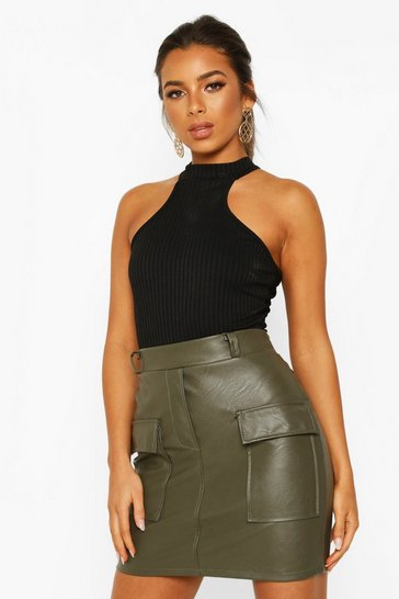 Khaki Petite Pocket Detail Leather Look Mini Skirt