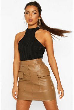 Tan Petite Pocket Detail Leather Look Mini Skirt