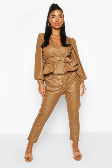Tan Petite Tapered Leather Look Trousers