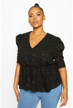 Plus Floral Lace Angel Sleeve Peplum Top, Black
