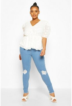 Plus Floral Lace Angel Sleeve Peplum Top, Ivory