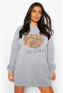 Grey Plus Leopard Slogan Lips Hooded Sweat Dress