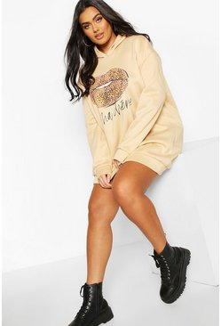 Stone Plus Leopard Slogan Lips Hooded Sweat Dress
