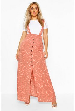 Dusky pink Plus Polka Dot Pinafore Maxi Skirt