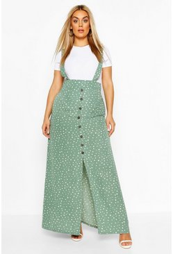 Sage Plus Polka Dot Pinafore Maxi Skirt