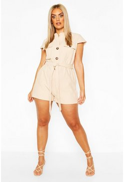 Stone Plus Button Through Utility Playsuit