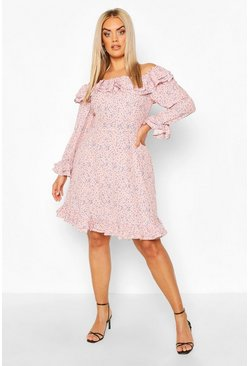 Pastel pink Plus Bardot Floral Ruffle Skater Dress