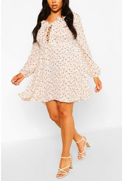 White Plus Floral Lace Up Skater Dress