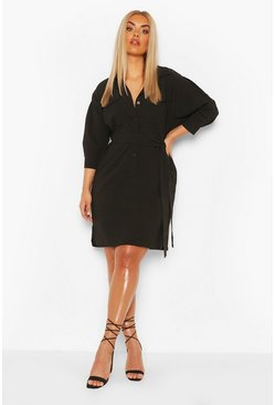 Black Plus Utility Shirt Dress