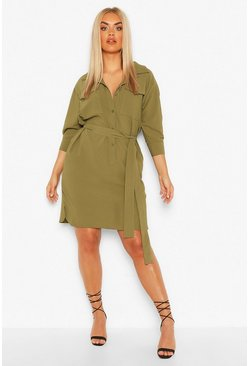 Khaki Plus Utility Shirt Dress