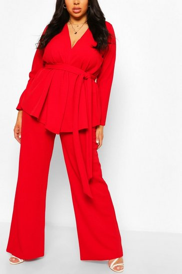 Red Plus Wrap Top & Tailored Trouser Co-ord