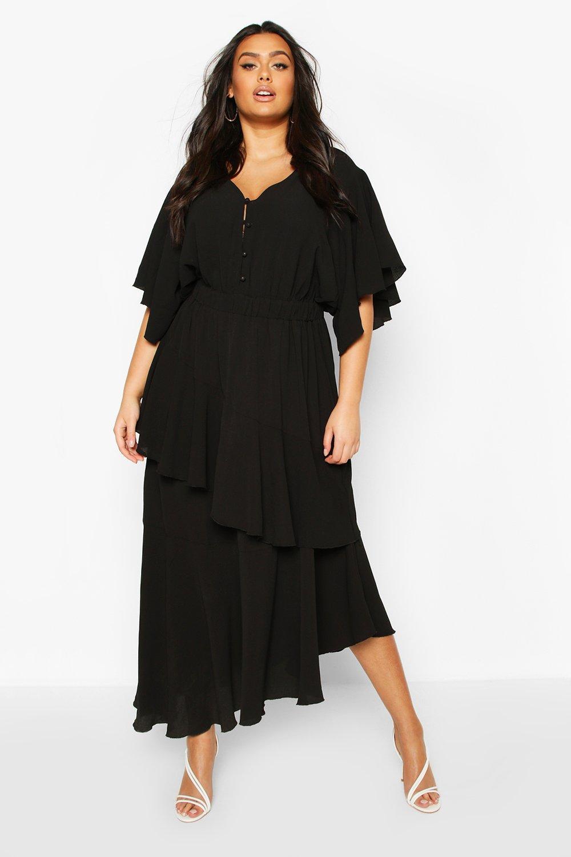 1930s Art Deco Plus Size Dresses | Tea Dresses, Party Dresses Womens Plus Asymmetric Peplum Midi Dress - black - 16 $58.00 AT vintagedancer.com