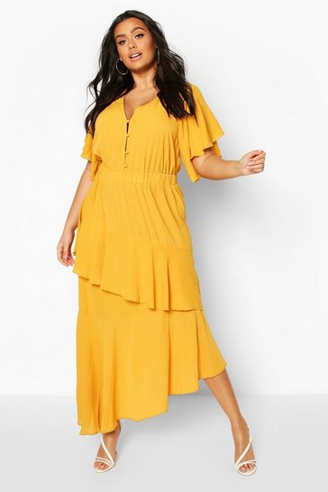 Mustard Plus Asymmetric Peplum Midi Dress