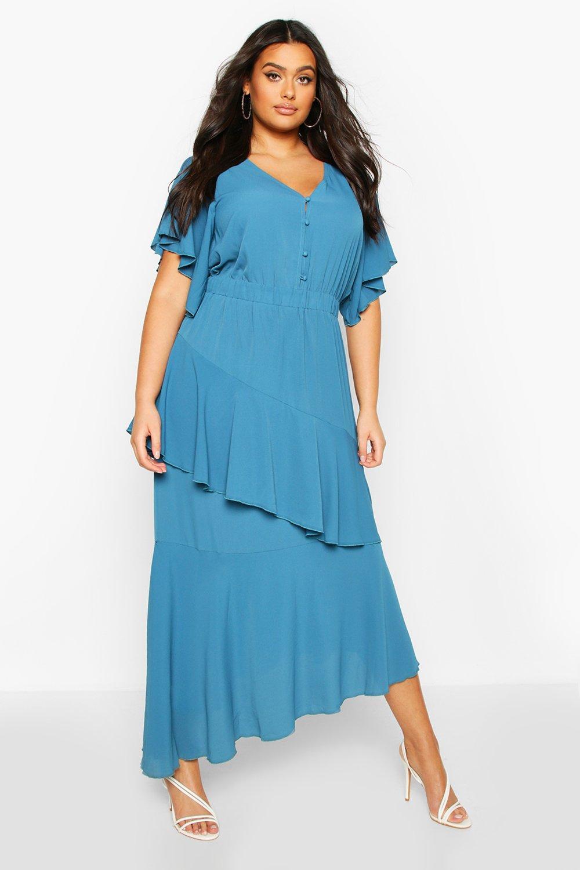 1930s Art Deco Plus Size Dresses | Tea Dresses, Party Dresses Womens Plus Asymmetric Peplum Midi Dress - green - 16 $58.00 AT vintagedancer.com