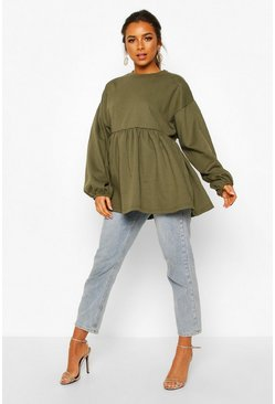 Khaki Petite Puff Sleeve Smock Sweat Top