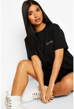 Petite Small But Sassy Slogan T-Shirt, Black