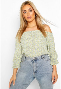 Plus Floral Off The Shoulder Bardot Top , Mint