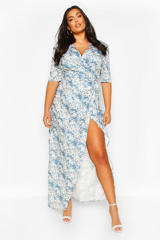 Plus Floral Tie Waist Maxi Dress 8