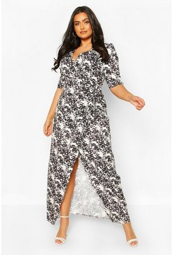 White Plus Floral Tie Waist Maxi Dress