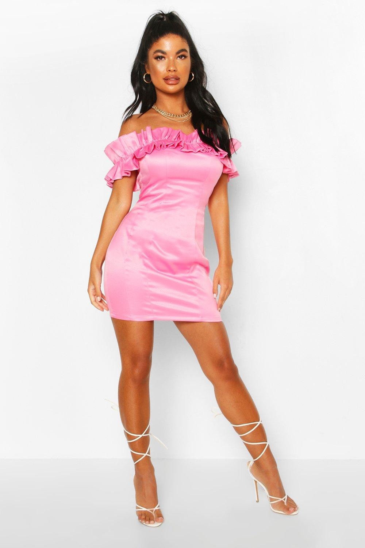 80s Prom Dresses – Party, Cocktail, Bridesmaid, Formal Womens Petite Ruffle Off Shoulder Satin Mini Dress - Pink - 10 $12.80 AT vintagedancer.com