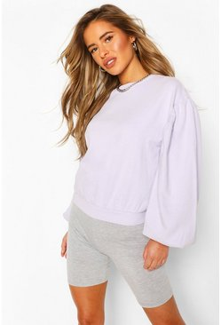 Lilac Petite Acid Wash Puff Sleeve Sweat