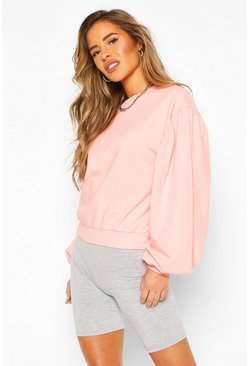Peach Petite Acid Wash Puff Sleeve Sweat
