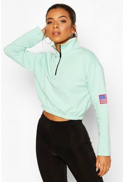 Mint Petite Zip Up Flag Badge Crop Sweat