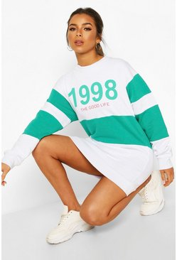 Green Petite Slogan Oversized Sweat Dress