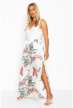 Ivory Plus Tropical Print Wide Leg Satin Pants