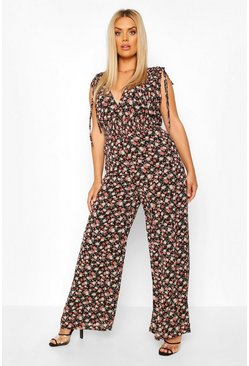 Plus Floral Shired Tie Detail Wide Leg Jumpsuit , Black