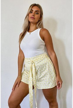 Yellow Plus Pineapple Stripe Self Belt Tailored Shorts